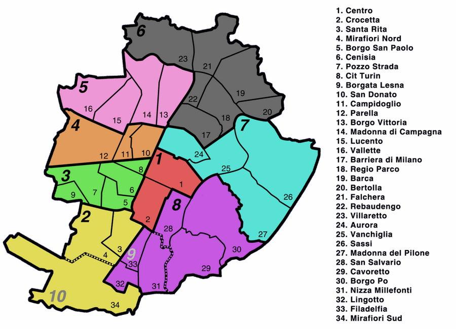 Все районы Турина карта