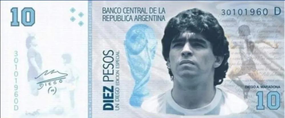 Марадона на банкноте купюре 10 евро