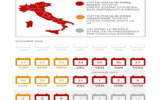 Календарь запретов в Италии коронавирус Новый год Рождество