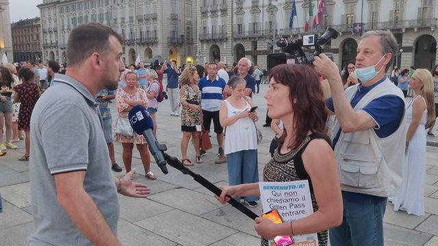 Italexit протестует против Green Pass в Турине